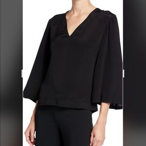 Derek Lam Alex Silk 3/4 Wide Sleeve Blouse.